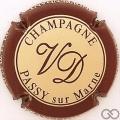 Champagne capsule 5.b Crème, contour bordeaux foncé, verso gris