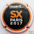 Champagne capsule A36.c Noir, orange et blanc, moto au verso