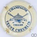 Champagne capsule 8 Crème et bleu, grandes lettres, verso or
