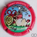 Champagne capsule 25.a St Valentin 2020, contour rouge, émaillée LFC