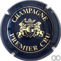 Champagne capsule 4 Bleu-noir et or, premier cru, G dans l'écusson