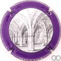 Champagne capsule 10.a Gris, contour violet pâle, grand dessin cercle noir