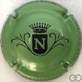Champagne capsule  N, fond vert métallisé