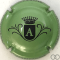 Champagne capsule  A, fond vert métallisé