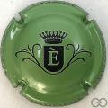 Champagne capsule  E, fond vert métallisé