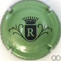 Champagne capsule  R, fond vert métallisé