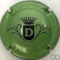 Champagne capsule  D, fond vert métallisé