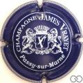 Champagne capsule 6 Bleu foncé et blanc, striée, stries courtes