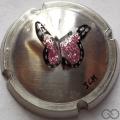 Champagne capsule 163.b PALM, papillon rose, en étain