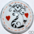 Champagne capsule  PALM, jéroboam porcelaine, le chat et deux cœurs