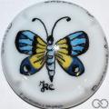 Champagne capsule  PALM, jéroboam porcelaine, papillon ailes bleu et jaune