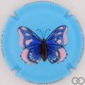Champagne capsule 39 Papillon, fond bleu, emaillée en relief