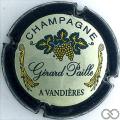 Champagne capsule 9 Crème, contour vert foncé, feuilles vertes et or, Liseret crème sur contour