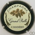 Champagne capsule 4 Contour vert foncé, petites lettres, feuilles d'or et vert