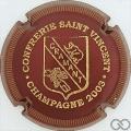 Champagne capsule 7 2003, bordeaux et or, striée