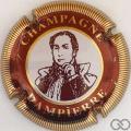 Champagne capsule 04 Portrait marron, cercle bordeaux, striée