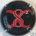 Champagne capsule 3 8, rouge sur fond noir