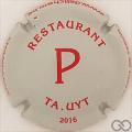 Champagne capsule 15.ab P rouge sur gris